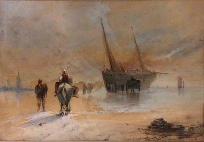 BENTABOLE Louis, 1820-1880,  Bateaux sur...