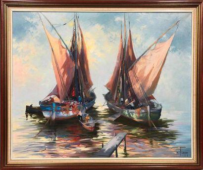 FLÉGIER Max, XXe siècle,  Le départ des pêcheurs,...