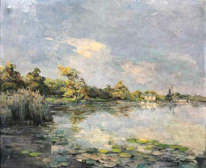 GARIN Louis, 1888-1959,  Lac et château,huile...