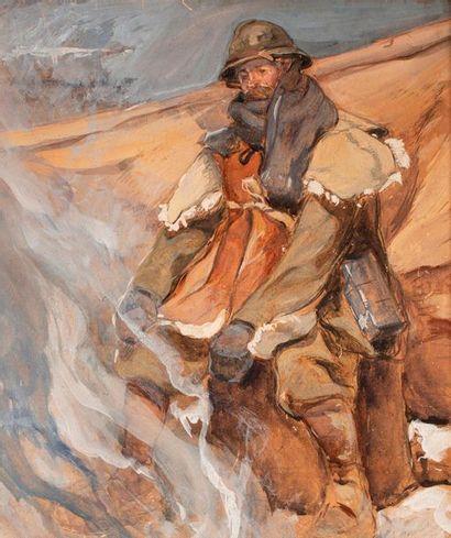 GILLOT Eugène Louis, 1867/68-1925, attribué à,  Poilu se réchauffant près d'un feu,...
