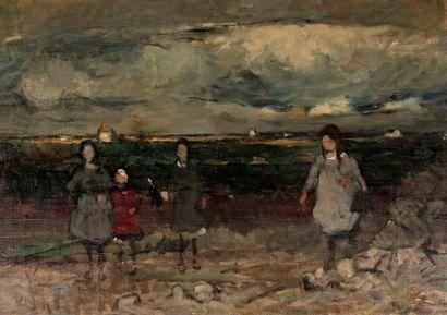 BERTRAM Abel , 1871-1954  Groupe de fillettes...
