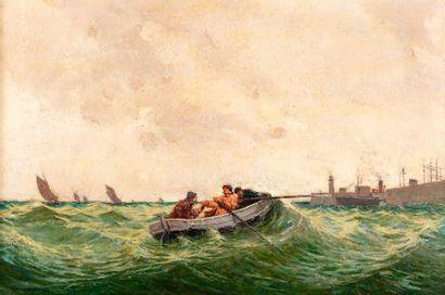 LEBLANC Richard, né en 1882  Barque en vue...