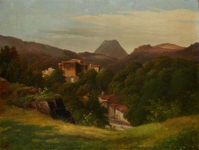 ANONYME XIXe siècle  Paysage au volcan, vue...
