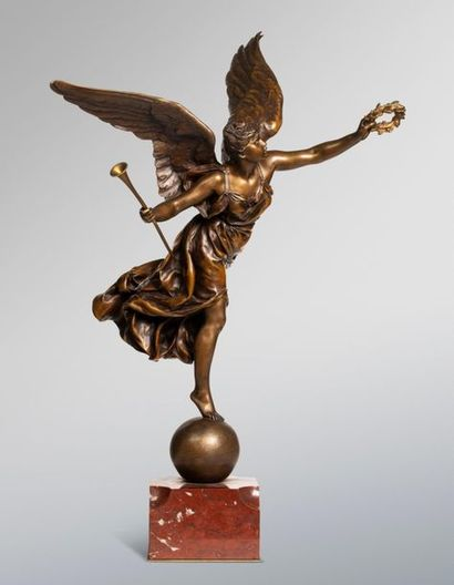 BARRIAS Ernest, 1841-1905  La renommée  bronze...
