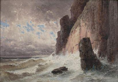 GODCHAUX Alfred, 1835-1895  Vagues au pied...