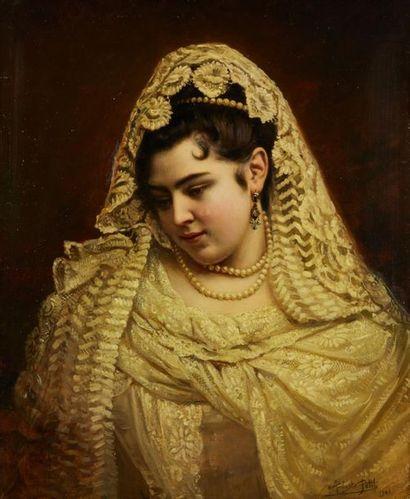 PETIT Auguste, 1844-1927  Jeune femme au...