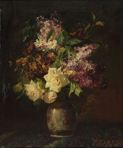 GARNIER Pierre, 1847-1937  Bouquet de lilas et de roses blanches  huile sur toile...