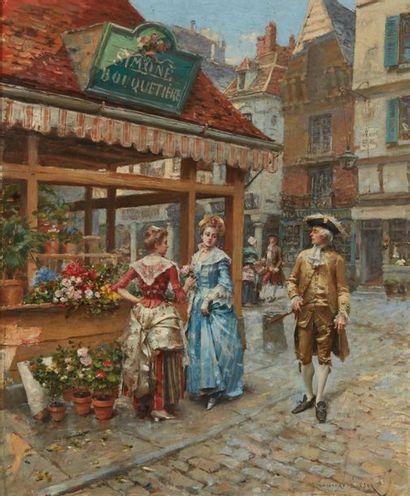 LESUR Henry, 1863-1900  Chez la bouquetière...
