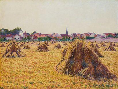 CARIOT Gustave, 1872-1950  Champs aux meules...