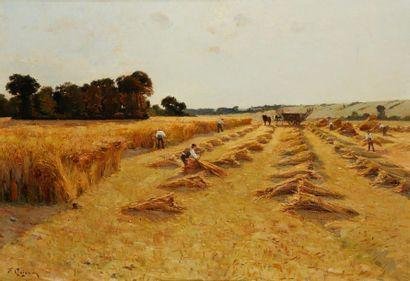 QUIGNON Fernand, 1854-1941  La moisson  huile...