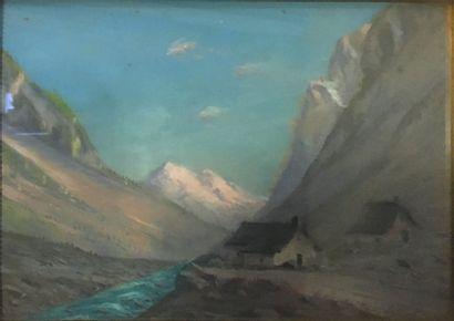 GIROUD Jospeh (XIX-XXeme)  Oisans en venant de la Berarde - Coucher de soleil, 1936-1937...