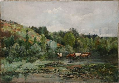 MATIFAS Louis, 1847-1896,  Vaches au ruisseau,...