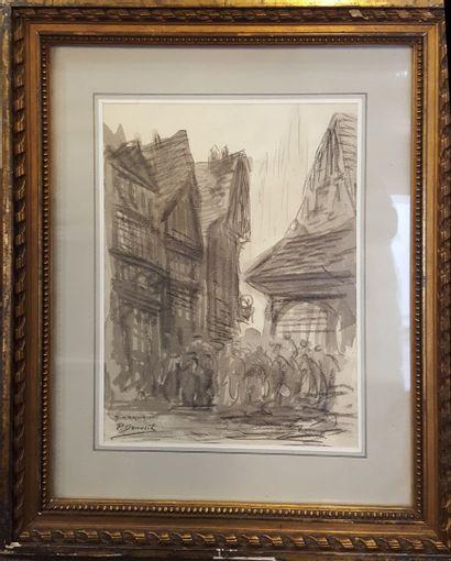 SORLAIN Jean (1859-1942) [Paul Denarié dit] Dinan, 1911 lavis sur papier, signé...