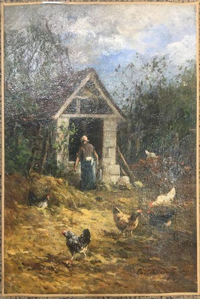 DUFOUR Camille Emile (1841-1933)  Le poulailler...