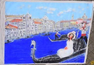HRASARKOS (né en 1975)  Femme dans une gondole...