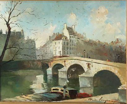 LEMP. André.  Paris pont Marie,  huile sur...
