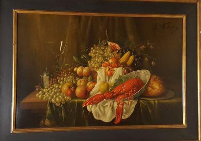 WOKOS (XIX-XXème)  Fruits et homard,  huile...