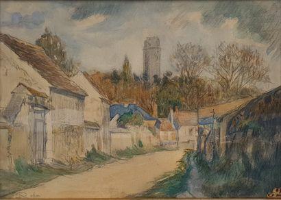 ROBIN L., début XXe ,  Rue de village à la tour,  aquarelle et crayon noir (insolation),...