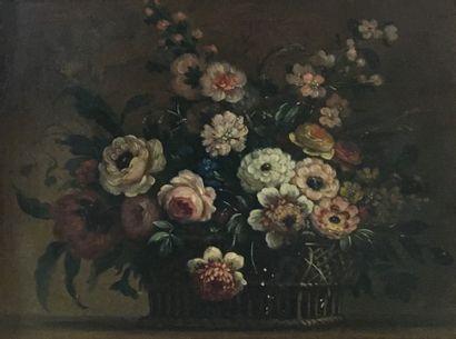 ECOLE MODERNE  Bouquet d'esprit XVIIIe  Huile...