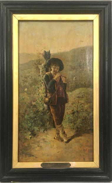 ECOLE XIXeme siècle  Jeune pâtre jouant de...