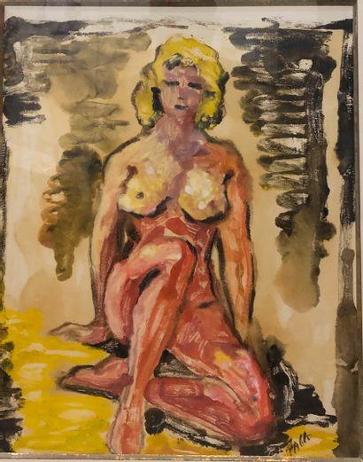 PABLO (XX)  Femme nue assise,  technique...