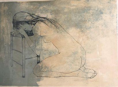 JANSEM Jean (1920-2013) Nu-fond rose, datée...