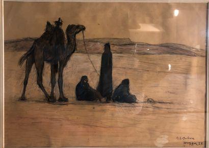 DUBOIS Paul Elie (1886-1949)  la halte des Touaregs  Pastel, fusain et aquarelle...