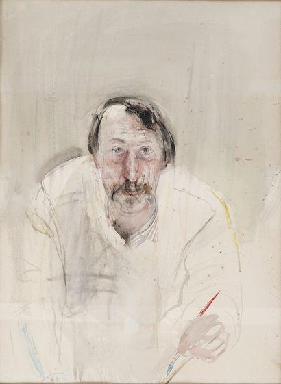 BOTSOGLOU Chronis, né en 1941  Autoportrait au pinceau, 1980  aquarelle (insolation)...