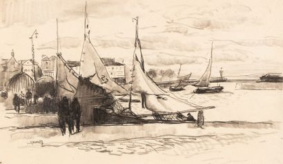 Paul Élie GERNEZ, 1888-1948  Le port de Honfleur  fusain et estompe sur papier doublé...