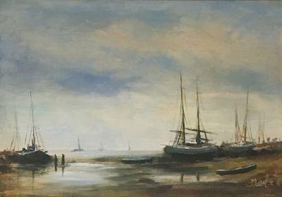 MOREL. E, né en 1918  Bateaux a quai  Huile...