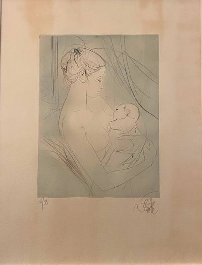 VALADIE Jean Baptiste (1933)  Mère et sa fille  Eau forte  Signée en bas à droite...