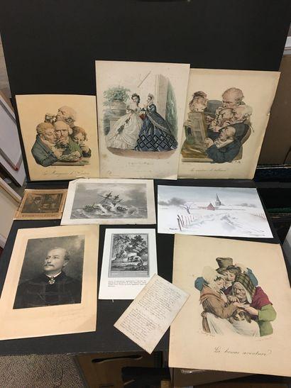 Lot de reproductions :  mode illustrée et divers.  On y joint une aquarelle de ...