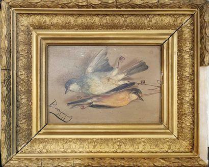 BOURGUIGNON Maurice Jean (1877-1925)  Oiseaux morts  Deux huiles sur papier  Signés...