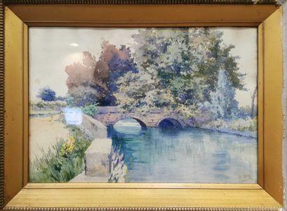 BILL Lina, 1855-1936  Le pont  Aquarelle,...