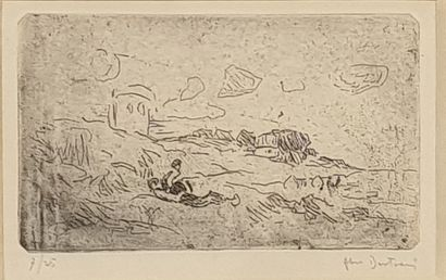 BERTRAM Abel, 1871-1954,  La sieste,  eau-forte en noir, n°7/25, signée en bas à...