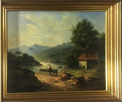 ECOLE FRANCAISE XIXe  Pécheurs près de la rivière  Huile sur toile, monogramme en...
