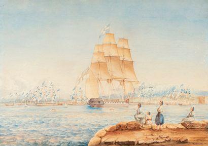 SAMBELL M. P., XIXe siècle,  Armada près...