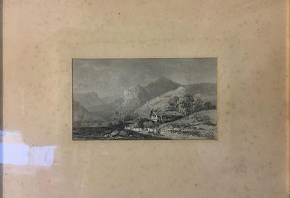 LEYGUES J (XIX-XX)  Paysage alpin,  mine...