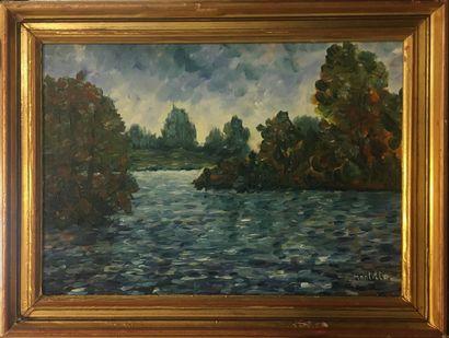 MONTILLO Pierre (XXIeme)  Etang  Peinture...