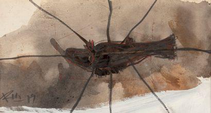 RU XIAO FAN, né en 1954  Poisson, 1989  aquarelle...