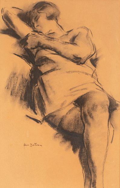 Abel BERTRAM, 1871-1954  Modèle allongé  fusain...
