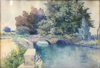 BILL Lina, 1855-1936  Le pont  Aquarelle, signée en bas à droite, quelques rousseurs,...