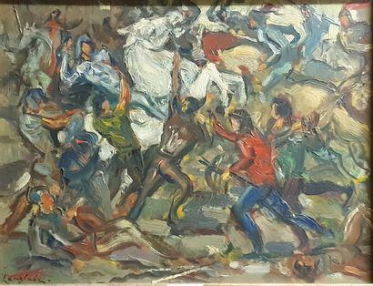 LANGLADE Pierre, 1907-1972,  Scène de bataille,...