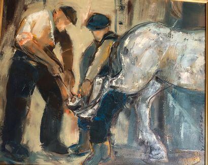 TOUBON Guy (1931)  Le marechal ferant  Huile...