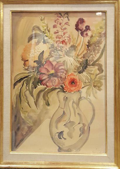 BERNARD (XXe)  Bouquet, 46  Aquarelle sur...