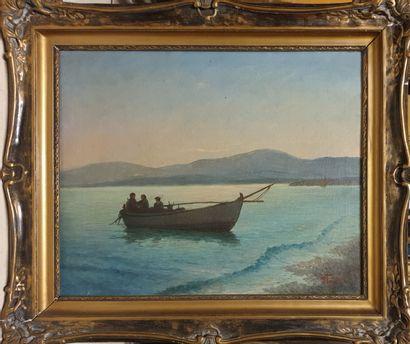 POULAKAS (XX)  Barque de pêcheurs au rivage,...