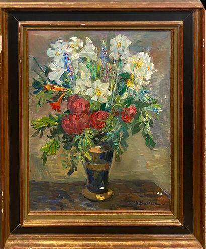 BARRERA Nicolas (1919-2006)  Bouquet de fleurs...