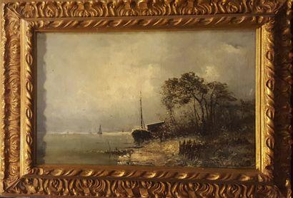 ECOLE XIXeme siècle  Bord de fleuve en hiver,...