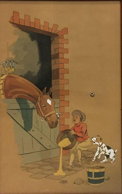Étienne LE RALLIC (1891-1968)  La course de chevaux et les enfants aux soins des...