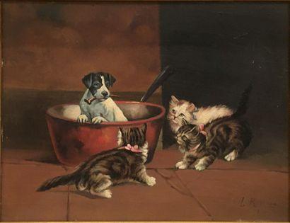 ROGER Louis (1874-1953)  Les chatons et le...